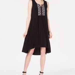STYLE & CO Dress Black Embroidered Boho High-Low M